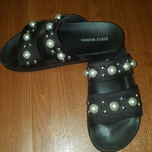 Steve Madden slides with pearls and studs